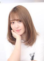 お手入れ簡単◎サラサラ内巻きミディアム(髪型ミディアム)