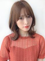 大人かわいい 外ハネミディアム(髪型ミディアム)