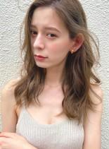 ミルクティーグレージュ&デジタルパーマ(髪型セミロング)
