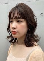 ゆるふわ外ハネミディ(髪型ミディアム)