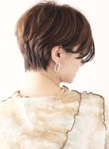 毛先ワンカールパーマのハンサムショート(髪型ショートヘア)
