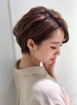 大人可愛いハンサムショート×パーマ(髪型ショートヘア)