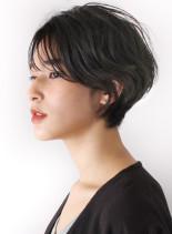 ダブルバングの大人モードショート(髪型ショートヘア)