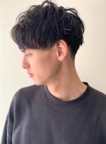 2ブロック×マッシュパーマ(髪型メンズ)