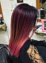ピンクバレイヤージュ(髪型セミロング)