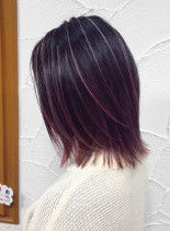 ピンクバレイヤージュ(髪型ミディアム)