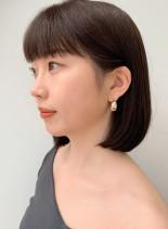 大人かわいい暗髪透明感カラー×艶感ボブ(髪型ボブ)