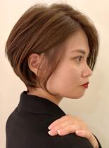 大人のシンプル前下がりショートボブ(髪型ショートヘア)