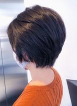 スッキリ丸みショート(髪型ショートヘア)