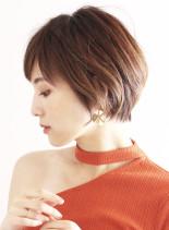 大人女性ナチュラルショートボブ(髪型ショートヘア)