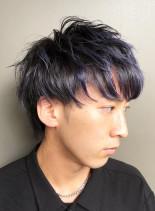 ハンサムブルーメッシュ(髪型メンズ)