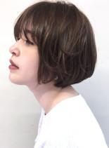 30代40代 丸みふんわりショートボブ(髪型ショートヘア)