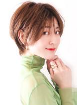 丸みナチュラルショート/オレンジベージュ(髪型ショートヘア)