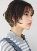 30代40代 丸みマッシュショートボブ(髪型ショートヘア)