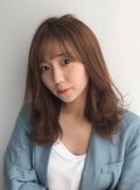 【色っぽミディアムレイヤー】(髪型セミロング)