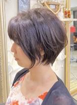 小顔☆前下がりショートボブ(髪型ショートヘア)