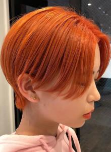 オレンジカラーショートカット