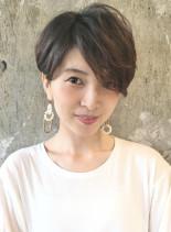 大人のフレンチショート/アッシュブラウン(髪型ベリーショート)