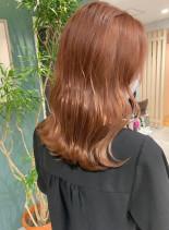 オレンジふわミディ(髪型ミディアム)