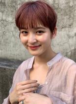 マニッシュショート×ピンクブラウン(髪型ベリーショート)