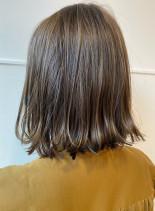 赤くなりづらいオリーブベージュカラー(髪型ボブ)