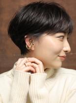 大人かわいい☆耳かけマニッシュショート(髪型ショートヘア)