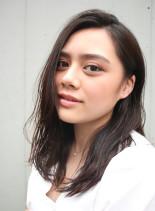 艶髪かきあげバング(髪型セミロング)