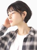 黒髪長めショートボブ(髪型ショートヘア)