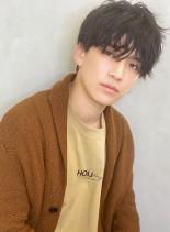 無造作アンニュイパーマ黒髪セミウェット(髪型メンズ)