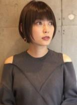 30代40代大人かわいい小顔ショートボブ(髪型ショートヘア)