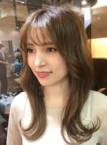 前髪カットで小顔に☆韓国風美人ロングヘア(髪型ロング)