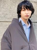 30代40代こなれ感黒髪マッシュウルフ(髪型メンズ)