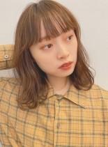 大人かわいいニュアンスパーマロブ(髪型ミディアム)