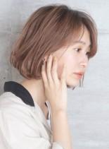 透明感シンプルワンカールボブ(髪型ボブ)