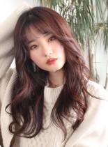 小顔キュートに韓国風!前髪ありロング(髪型ロング)