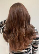 ピンクインナーカラー オルチャンヘア(髪型ロング)