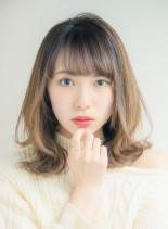 モテ外ハネミディアムレイヤー(髪型ミディアム)