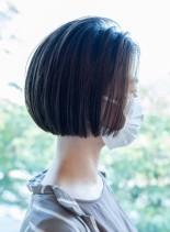 丸みのあるフォルムが美しいワンレンボブ(髪型ボブ)