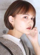 インナーカラー◇大人の丸みショートボブ(髪型ショートヘア)