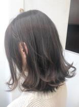 隠れハイライト*透け感ブラウン(髪型ミディアム)