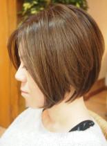 40代50代前上がりのくびれショートボブ(髪型ショートヘア)