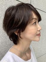 40代50代大人かわいい小顔ショート(髪型ショートヘア)