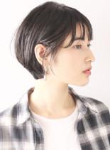 大人モードショートボブ(髪型ショートヘア)