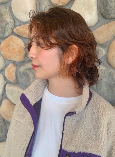 前髪長めウルフ ☆ フレーミングカラー(ビューティーナビ)