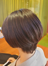 パープル系ショートボブ(髪型ショートヘア)
