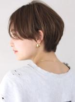 前髪長めすっきり丸みマッシュショート(髪型ショートヘア)