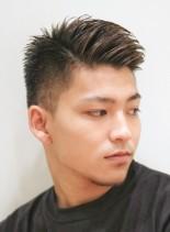 大人の刈り上げ ワイルドアップバング(髪型メンズ)