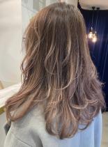 ピンクミルクティー×セミロングレイヤー(髪型セミロング)