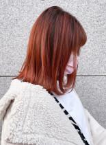オレンジカラーでつくる☆大人の外ハネ(髪型ミディアム)