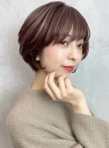 柔らかピンクベージュの大人ショートボブ☆(髪型ショートヘア)